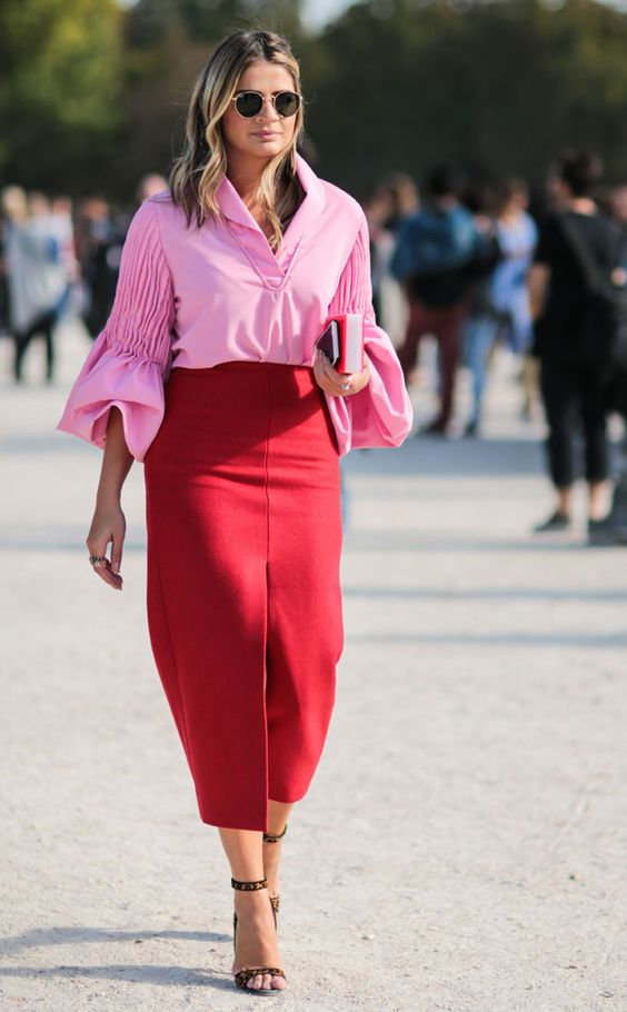 pink-top-red-skirt